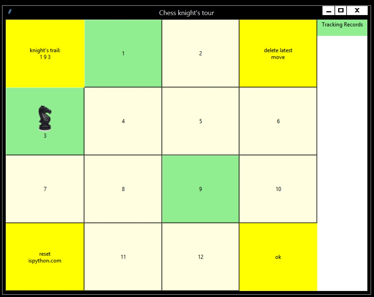 App: knight's tour board 1-12. Trail so far 1,9,3... Download python program from repositorykt
